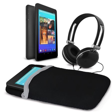Ematic 7u0022 16GB Tablet with Android 7.1 (Nougat) + Sleeve and Headphones, Black (EGQ373BL)