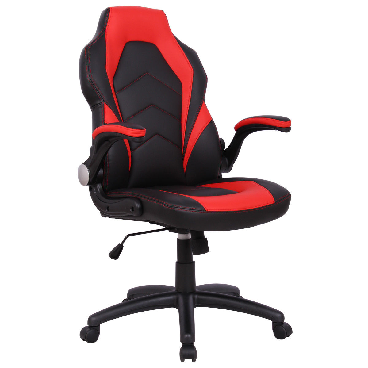 Gymax Ergonomic Office Chair PU Race Car Style Bucket Seat Gaming Desk Task Red New