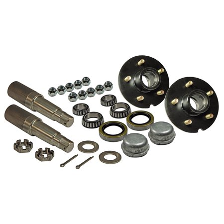 Tapered Spindle (Pair of 5-Bolt on 5 Inch Trailer Hub Assemblies - Includes (2) 1-3/8 Inch To 1-1/16 Inch Tapered Spindles & Bearings)