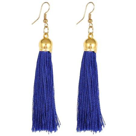 Dangling Earrings (Lady Fish Hook Long Tassel Pendant Dangling Earrings Eardrop Dark Blue)