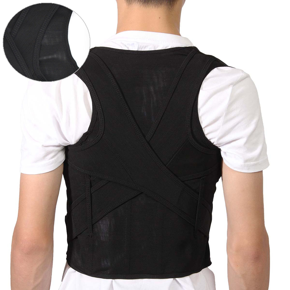 M/XL/XXXL Mesh Breathable Adjustable Back Support Posture Corrector Straightener Brace Shoulder Back Waist lumbar Band Belt Pain Relief For Men / Women Child Teenager