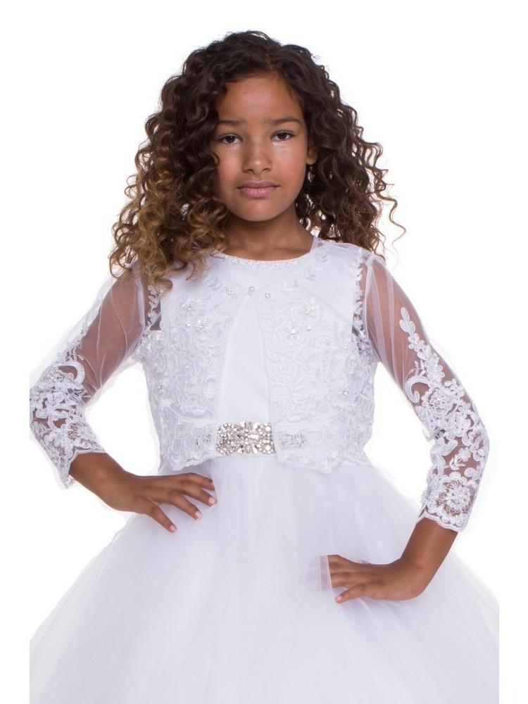 Girls White Beaded Floral Embroidered Long Sleeve Bolero
