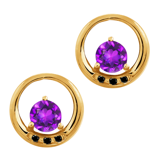 0.94 Ct Round Purple Amethyst and Black Diamond 14k Yellow Gold Earrings