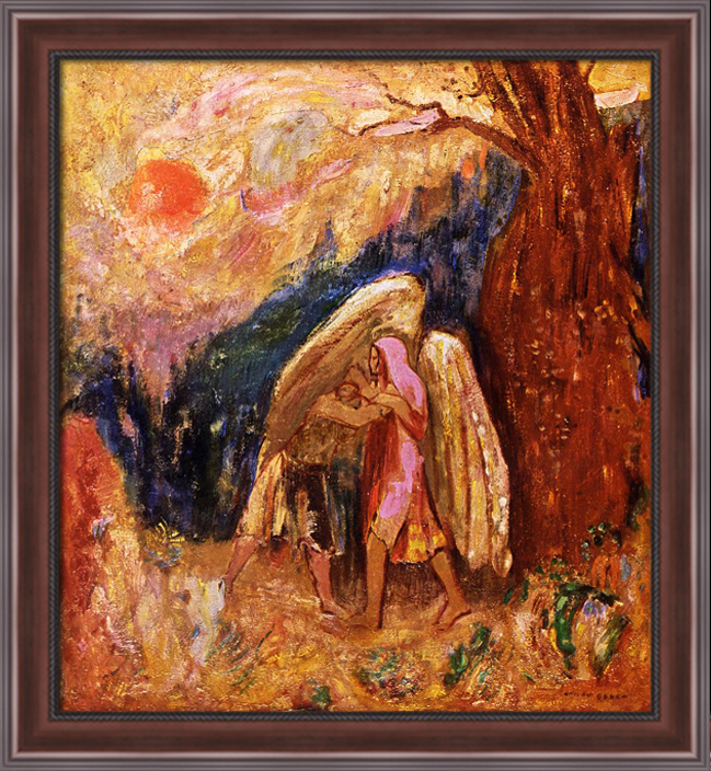 Art Fabric HD Print Oil Painting Odilon Redon Jacob and the Angel Wall Decor