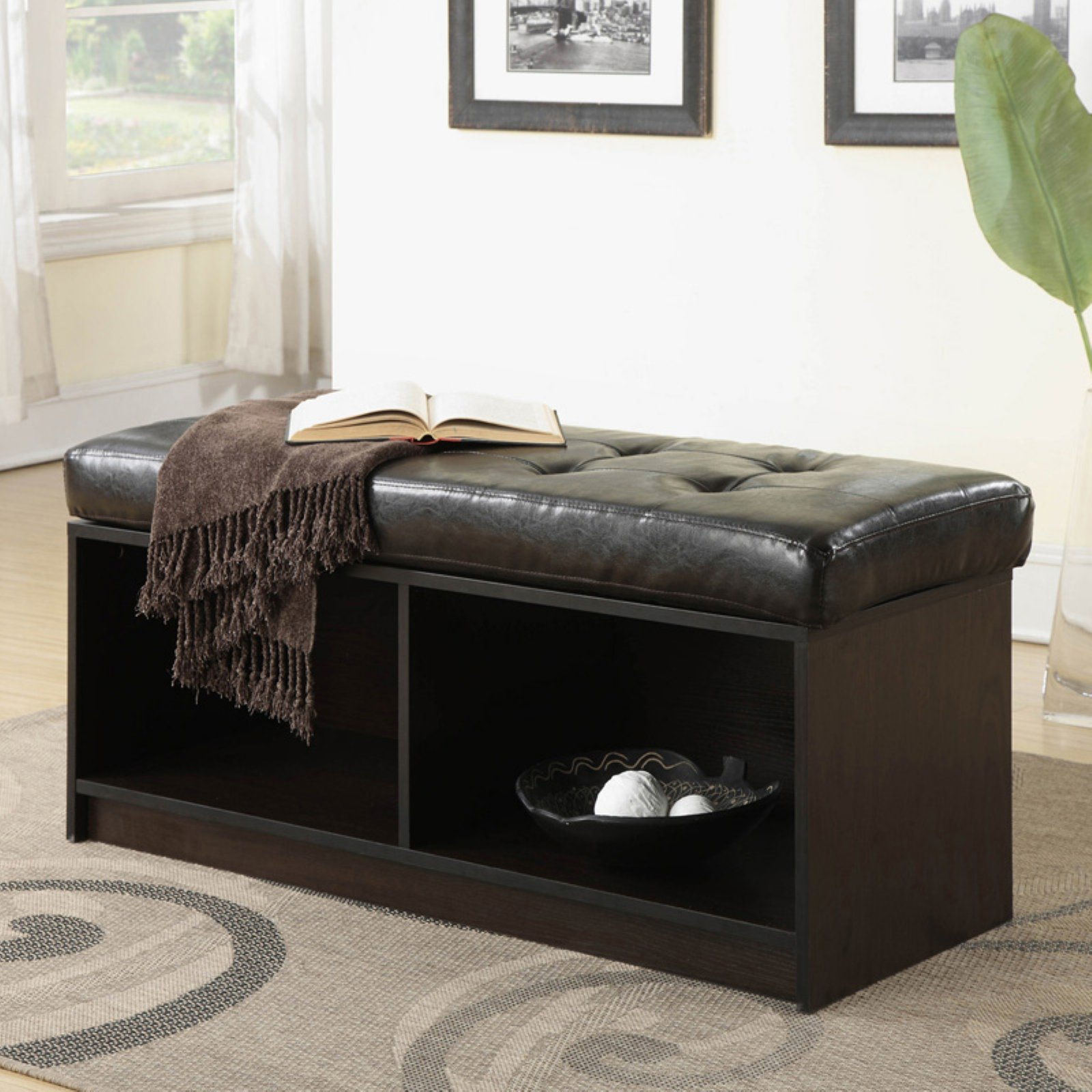 Convenience Concepts Broadmoor Entryway Faux Leather Storage Bench, Multiple Colors