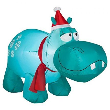 Gemmy Airblown Christmas Inflatables Snowflakes Hippo, 4' - Christmas Inflatables Cheap