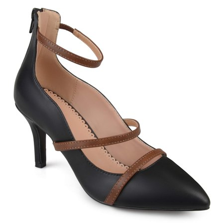 - Women's Faux Leather Pointed Toe Ankle Strap Heels