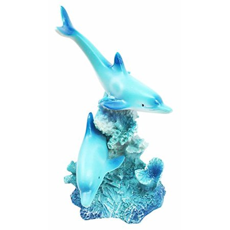 Marine Ocean Two Lover Dolphins Swimming Around Coral Reef Figurine Collectible Dolphin Sculpture (Corral Figurine)
