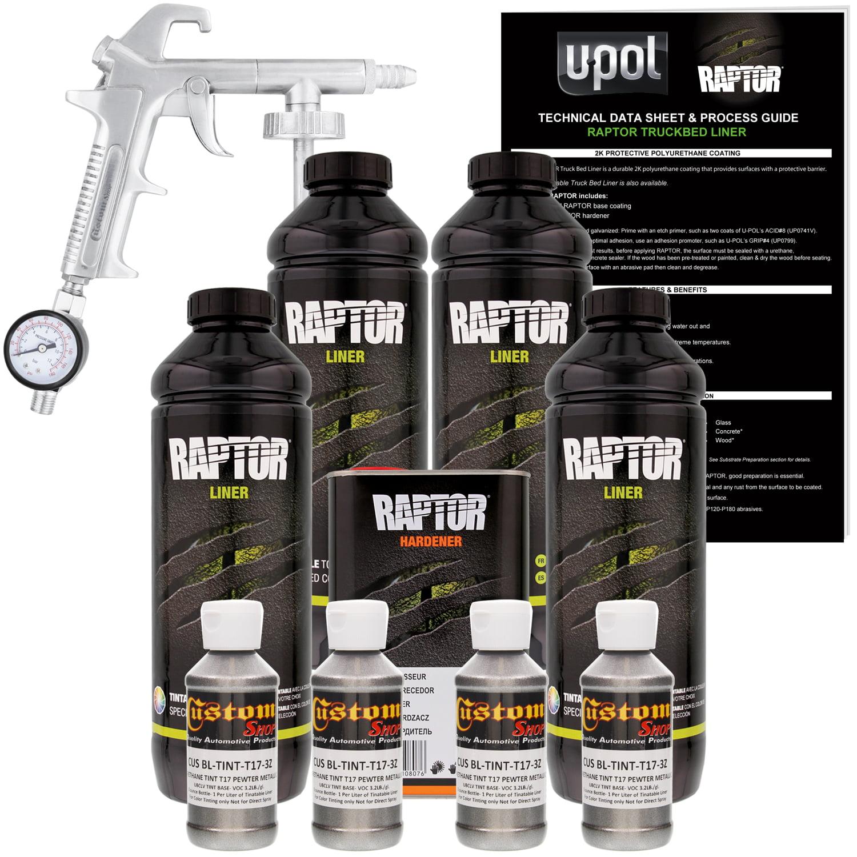U-POL Raptor Pewter Metallic Urethane Spray-On Truck Bed Liner Kit w/ FREE Custom Coat Spray Gun w/ Regulator, 4 Liters