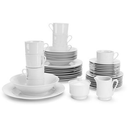 10 Strawberry Street Simply White Round 45-Piece Dinnerware -
