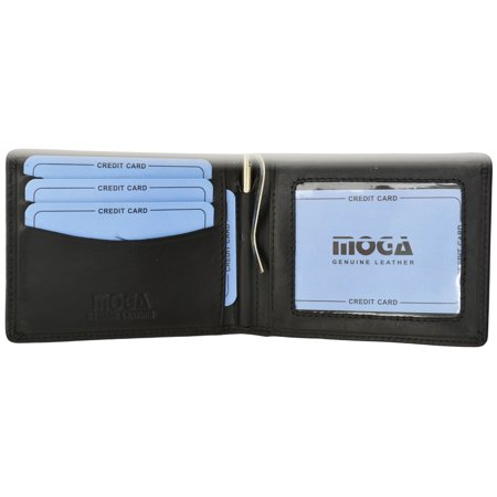 Moga High End Leather Mens Card ID Holder Bifold Wallet with Money Clip