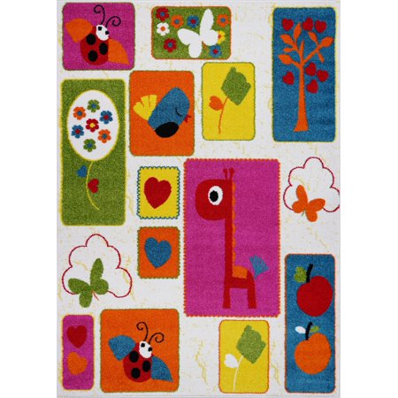 Ladole Rugs Cream and Multicolor Nature Theme European Kids Area Rug Carpet, 4x6 (3'11
