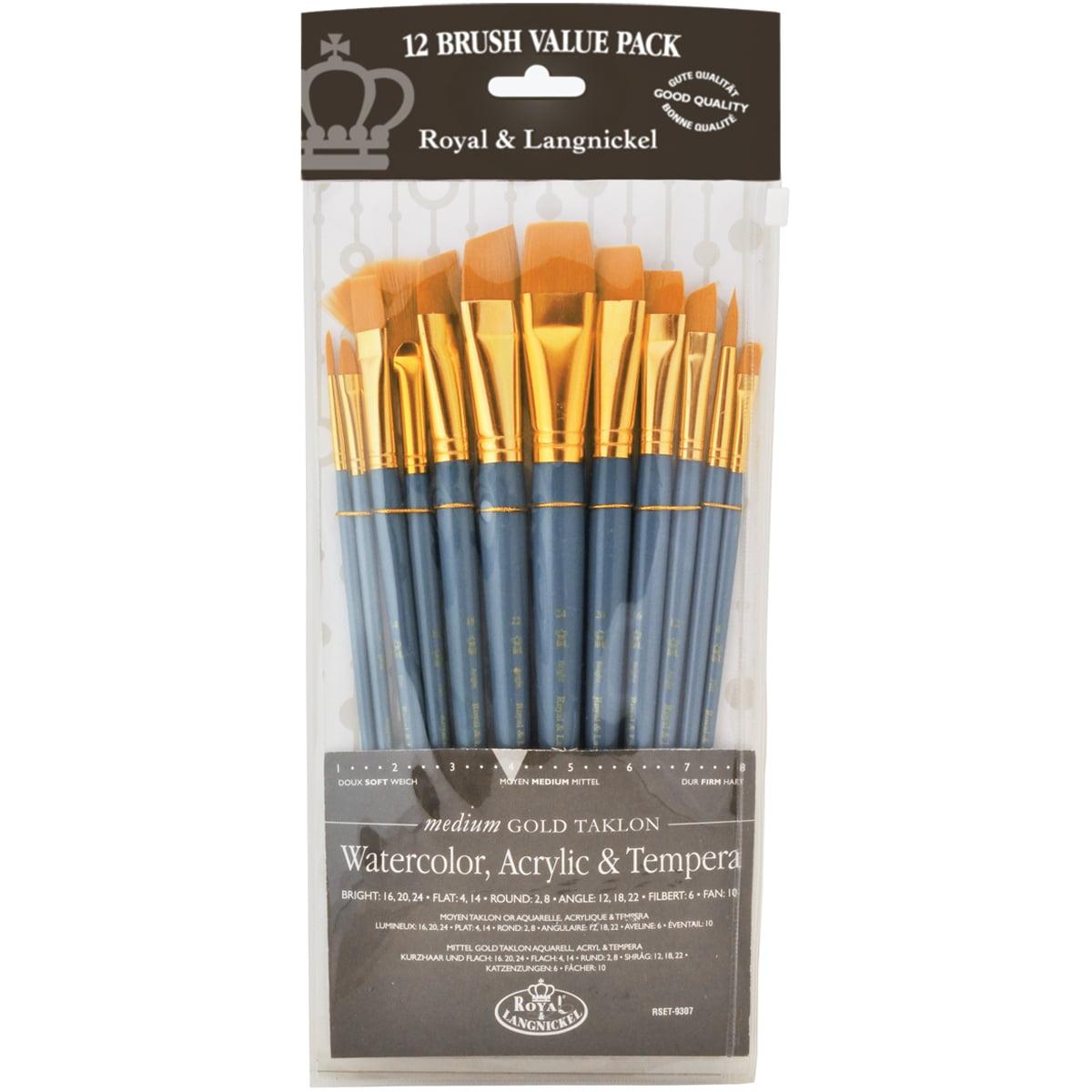 Gold Taklon Value Pack Brush Set-Round 12/Pkg