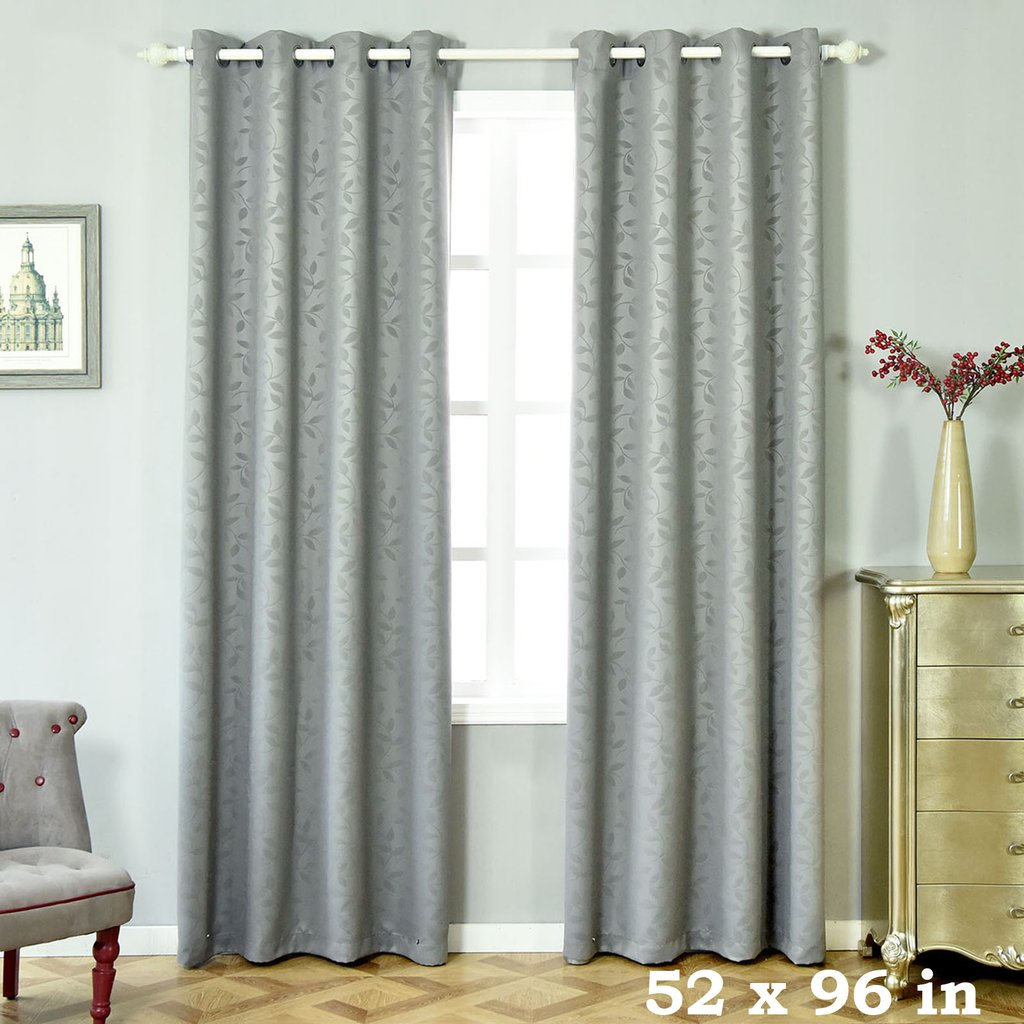 "Efavormart 2 Panels Blackout Curtians Thermal Insulated With Chrome Grommet Window Treatment Panels Drapes- 52x96"" by"