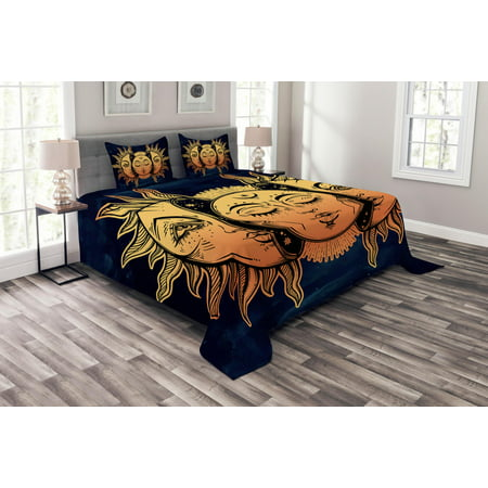 Psychedelic Bedspread Set, Moon and Sun with Many Fractal Faces Celestial Energy Mystic Art Print, Decorative Quilted Coverlet Set with Pillow Shams Included, Yellow Dark Blue, by Ambesonne ()