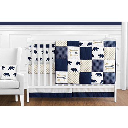 Sweet Jojo Designs 9 Piece Navy Blue Gold And White Patchwork Big Bear Boy Baby Crib Bedding Set With Bumper Walmart Canada