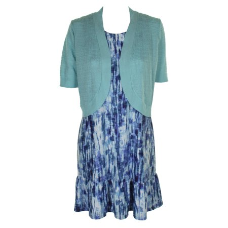 Ny Collection Petite Blue Sleeveless Printed Ruffled Shift Dress And Shrug PM - Dress And Shrug