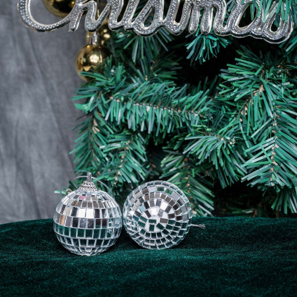 BalsaCircle 6 pcs 2-Inch Silver Mirror Disco Balls Hanging Glass Party Christmas Ornaments Wedding Home Decorations