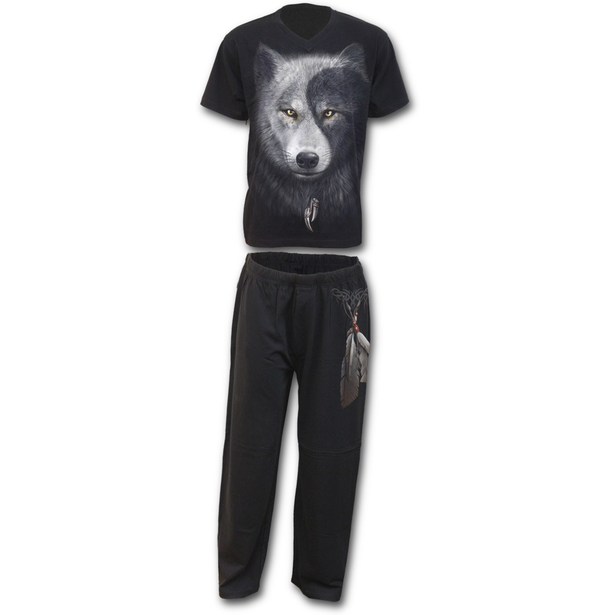 Spiral Direct WOLF CHI Cotton 4pc Mens Gothic Pyjama SetW...