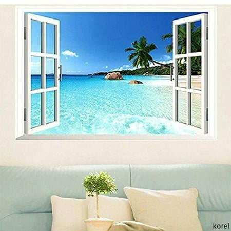 Large Removable Beach Sea 3D Window Decal WALL STICKER Home Decor Exotic Beach View Art Wallpaper -