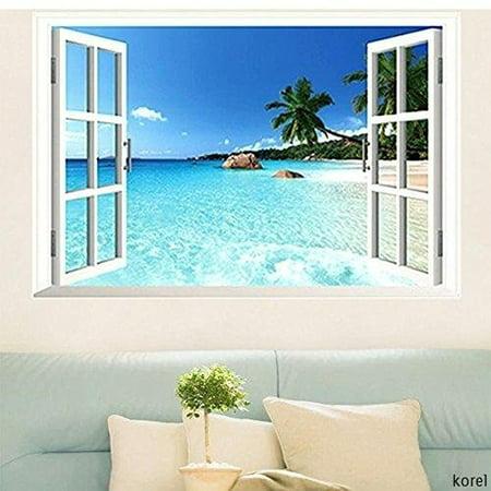 Large Removable Beach Sea 3D Window Decal WALL STICKER Home Decor Exotic Beach View Art Wallpaper Mural - image 4 de 4