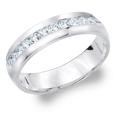 1/2 Carat Mens Diamond Ring (0.50 CTTW  Diamond Men's Wedding Band in White Gold, 1/2 Carat Diamond Wedding Ring for Him)