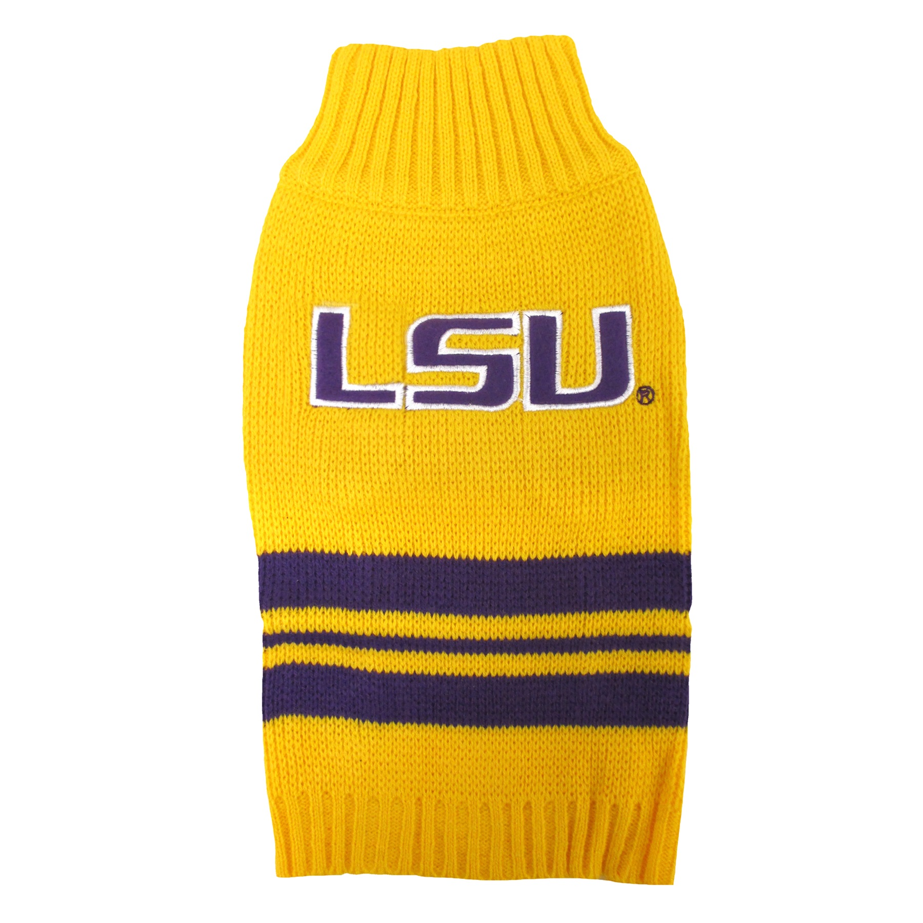 LSU Gold Knitted Turtleneck Pet Sweater