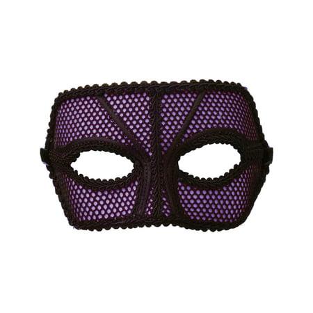 Deluxe Retro 80s Neon Black and Purple Fishnet Costume Venetian Eye Mask