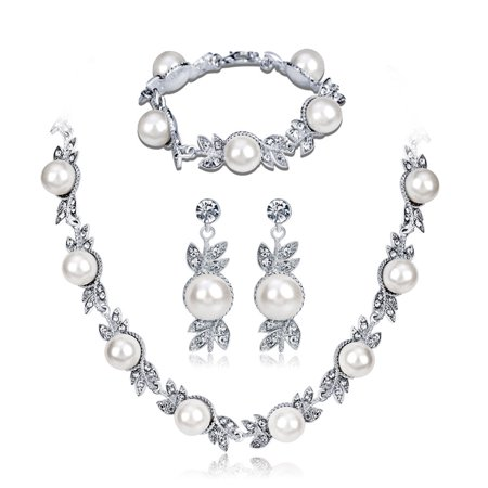 Women Elegant Bridal Jewelry Sets Rhinestone Pearl Necklace + Earrings + Bracelet for Wedding Valentine's Day Gift - image 7 of 7