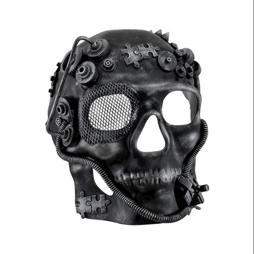 Zeckos - Metallic Steampunk Skull Full Face Masquerade Mask - Gray - Size Adult one size fits most