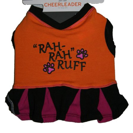 Cheerleader Dog Costume Orange Rah Rah Ruff Pet T-Shirt Cheer Dress