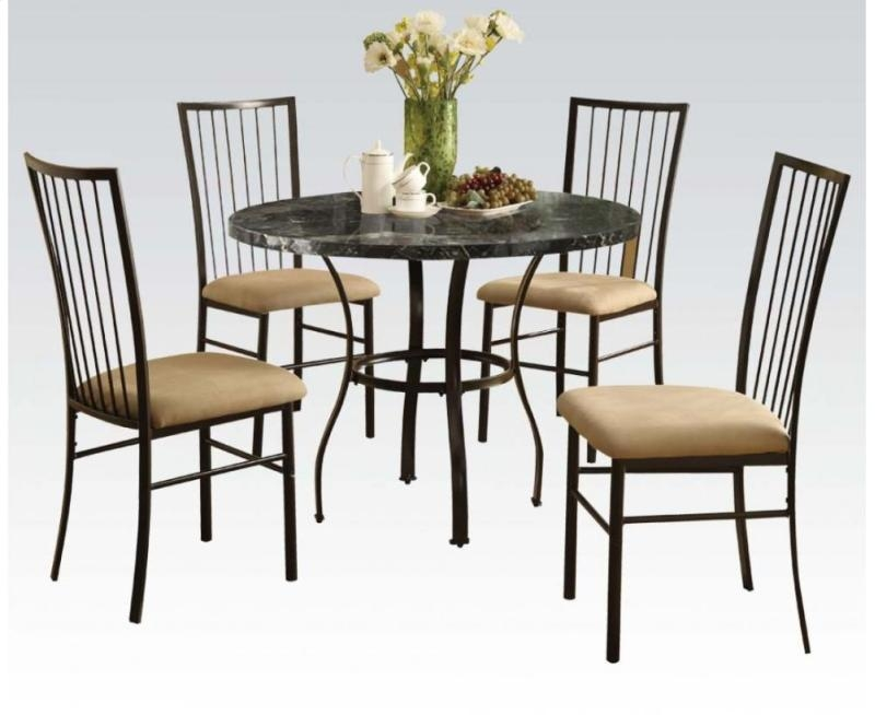 Darell Collection 70495W 5 PC Dining Room Set with Black Faux Marble Table Top 4 Side Chairs Microfiber Upholstery and... by