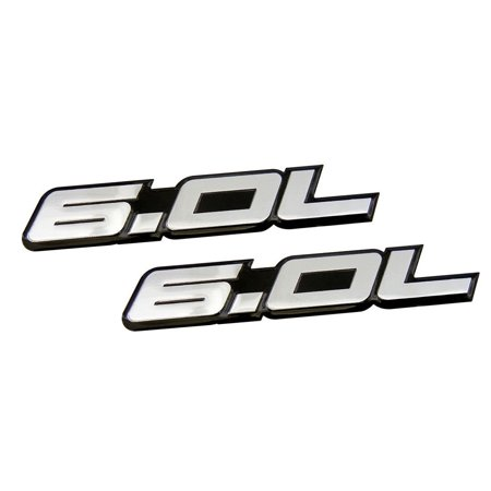 2 x (pair/Set) 6.0L Liter in SILVER on BLACK Highly Polished Aluminum Car Truck Engine Swap Nameplate Badge Logo Emblem for Pontiac GTO LS2 G8 L76 GMC Yukon Sierra Pick Up Chevy Tahoe GMC Vortec