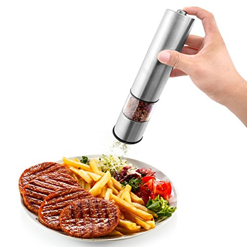 Momos Electric Salt or Pepper Grinder and Mill, Battery Operated, Stainless Steel Finish by