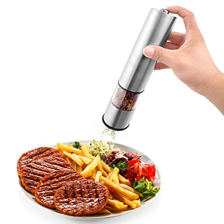 Momos  Electric Salt Or Pepper Grinder And Mill  Battery Operated  Stainless Steel Finish