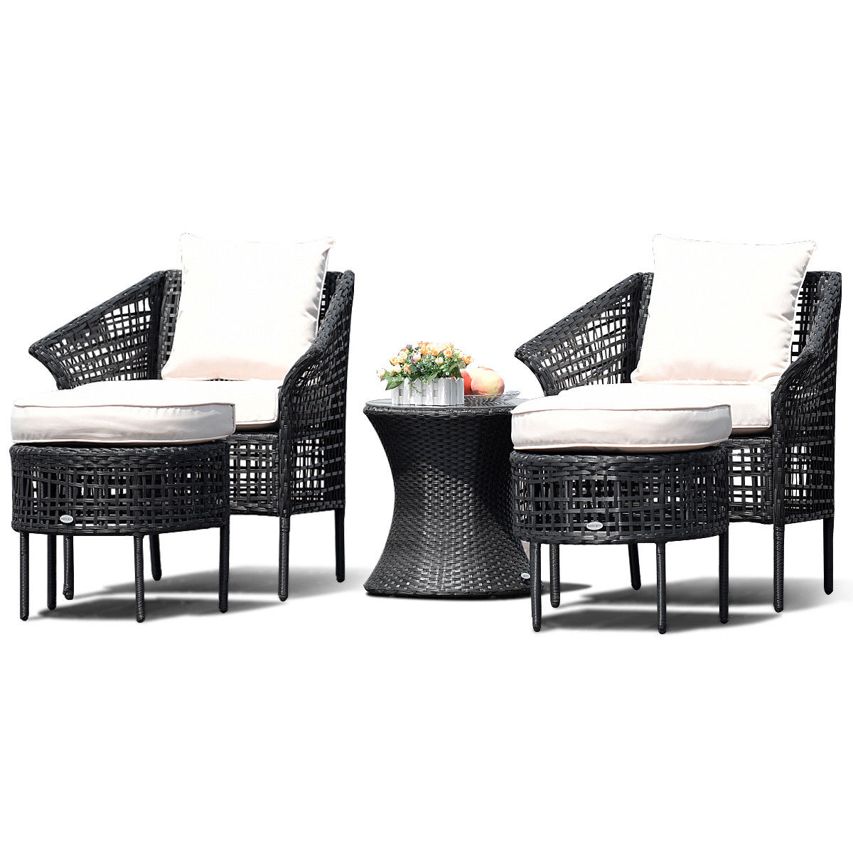 Costway 5 PCS Patio Furniture Dining Sets Leisure Set Rattan Seats Table Ottoman Beige