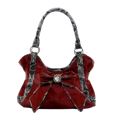 - Texas Leather 500271RD Shiny Material with Matching Bow Trimmed in Snake Print Office Specials Handbags & Wallets, Red