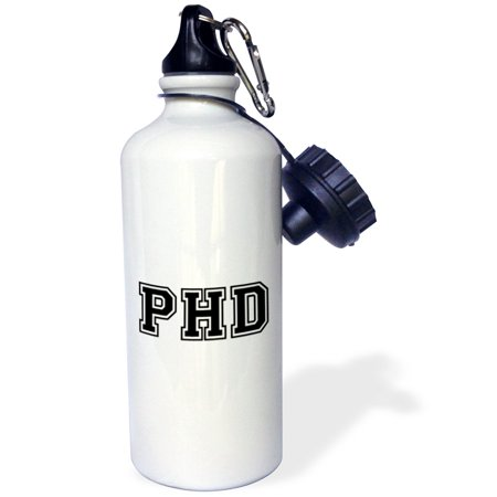 3dRose pHD - graduate school college or university graduation gift - black - doctor graduating souvenir, Sports Water Bottle, 21oz
