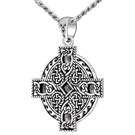 New 0.925 Sterling Silver Celtic Spiral Knotwork Cross Pendant Charm (Cross Celtic Inspired Necklace)