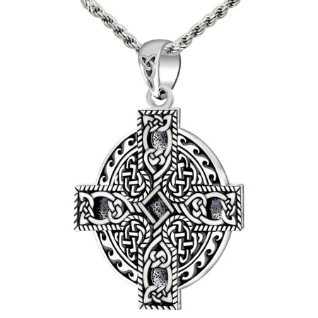 - New 0.925 Sterling Silver Celtic Spiral Knotwork Cross Pendant Charm Necklace