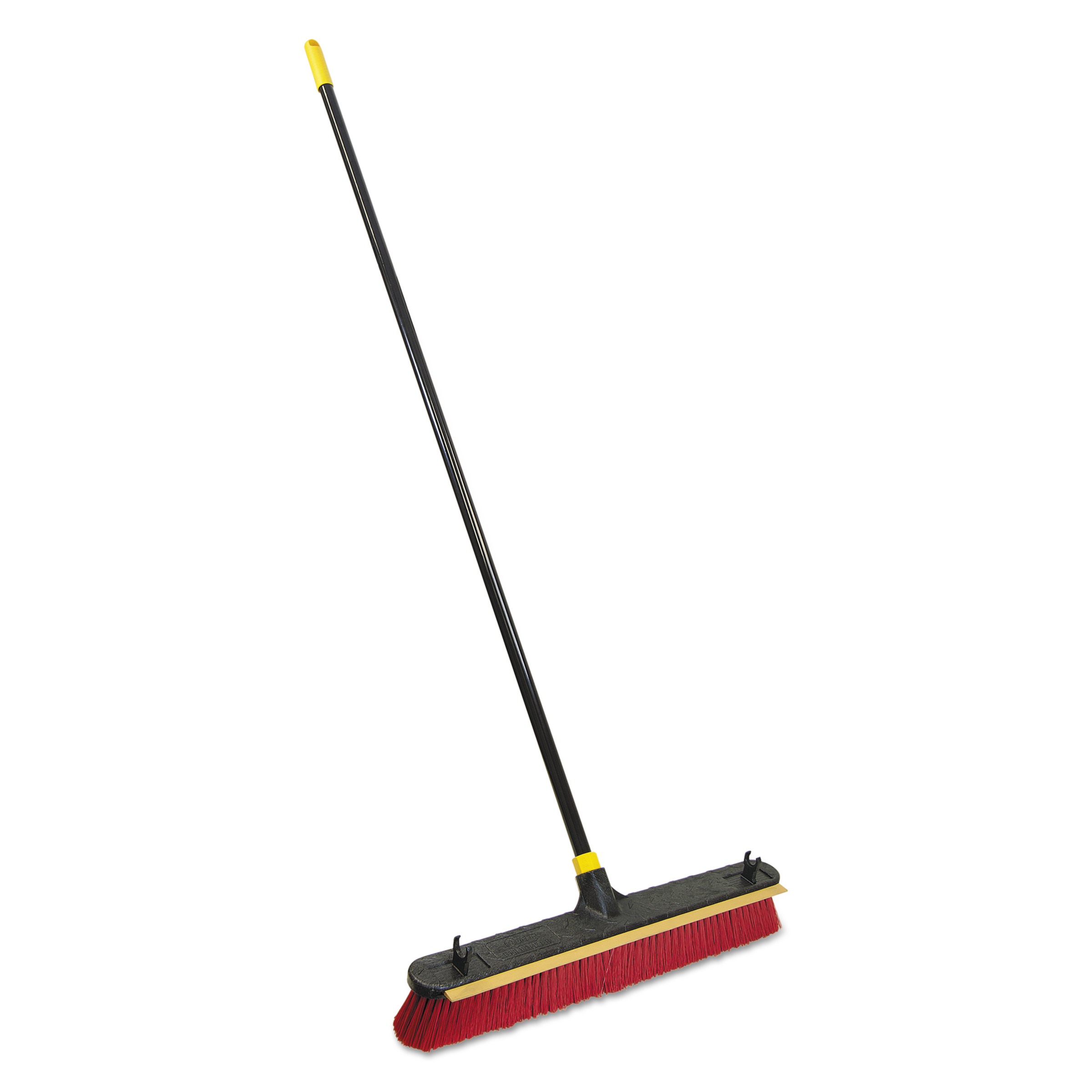 """Quickie 2-in-1 Squeegee Pushbroom, 24"""" Brush, 60"""" Handle, PET/Steel, Red/Black/Yellow"""