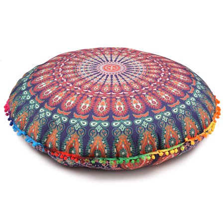 - Blue Floor Cushion Covers Mandala Pillow Cover Cases Round Patio Throws Decorative Cushion Covers Size 32