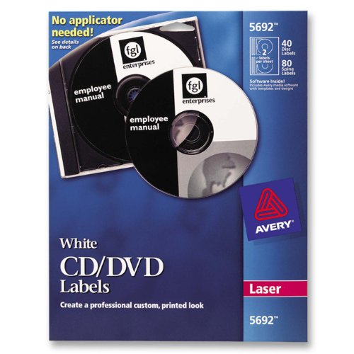 Avery White CD Labels for Laser Printers, 40 Disc Labels ...