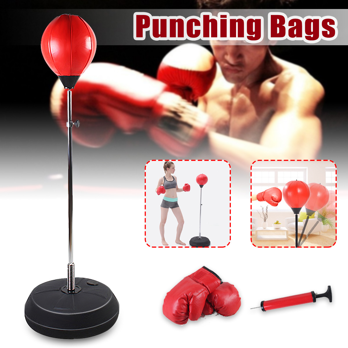 Boxing Punch Bag, Freestanding Punching Bags Speed Ball Punch Bag Set with Back Base, Gloves and Pump for Adults, Adjustable Height 120cm-150cm