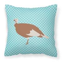 Jersey Buff Turkey Hen Blue Check Fabric Decorative Pillow BB8158PW1818