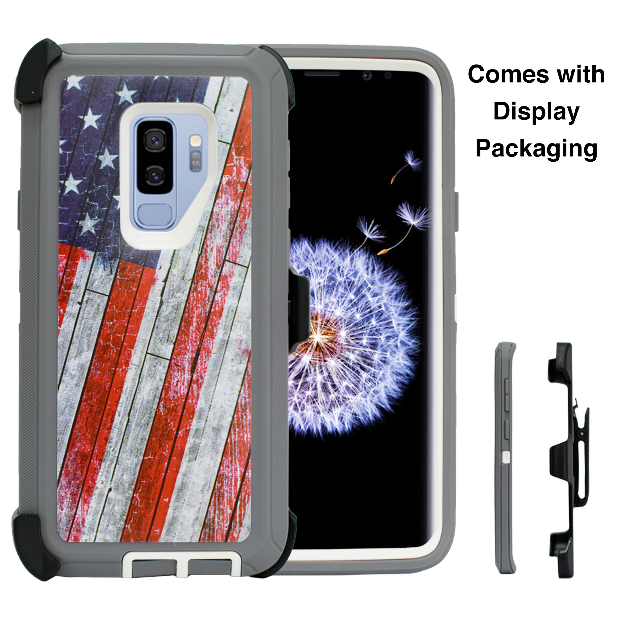 Design Heavy Duty Shock Reduction Case with Belt Clip (No Screen) for Galaxy S9 Plus - Black (Bgrass)