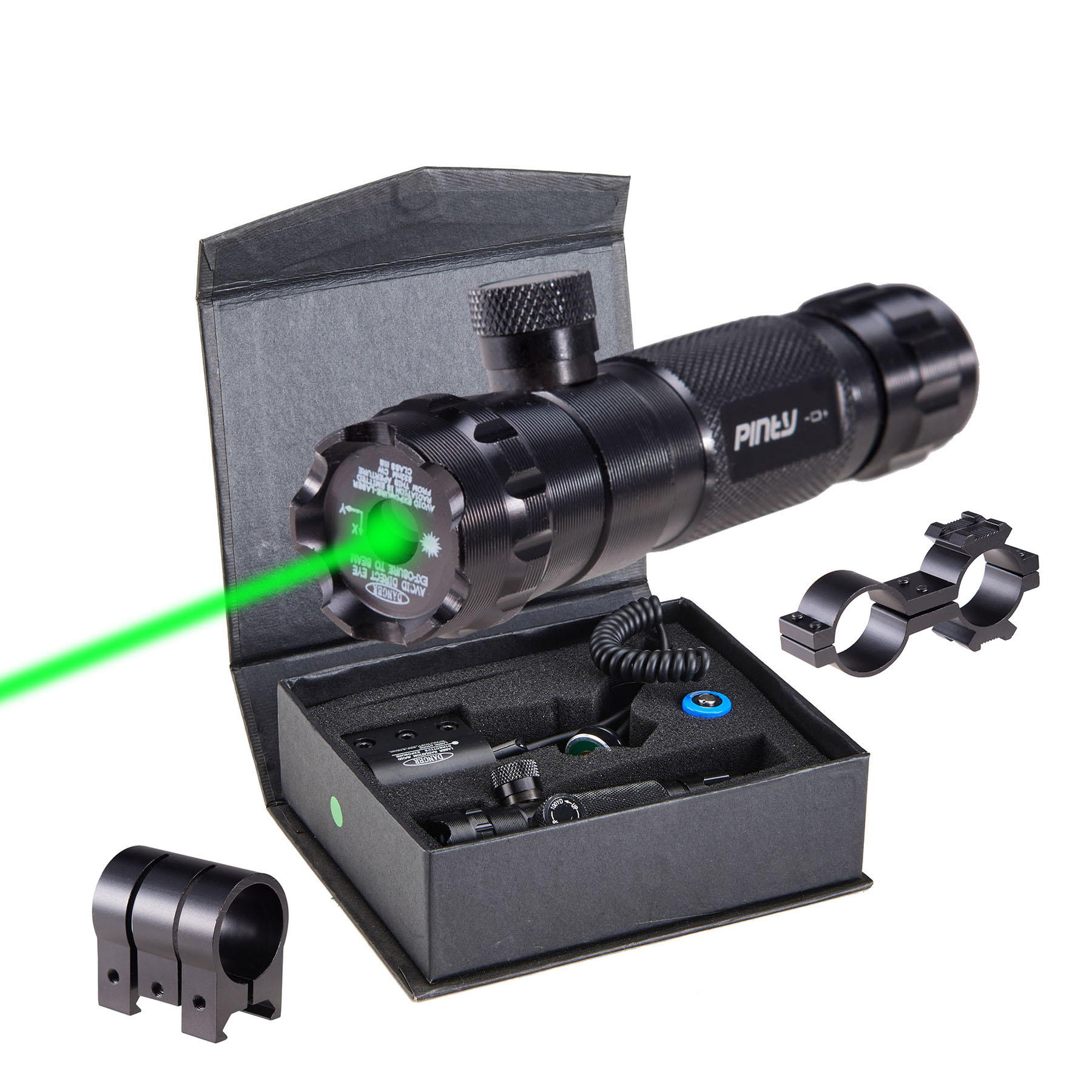 Pinty Tactical Hunting Rifle Green Laser Sight Dot Scope Adjustable with Mounts