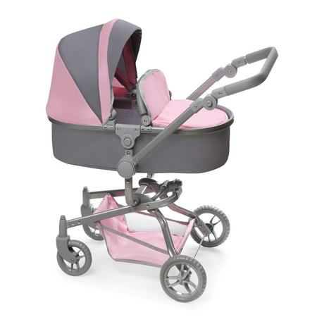 Badger Basket Daydream Multi-Function Single Doll Pram & Stroller - Gray/Pink - Fits American Girl, My Life As & Most 18