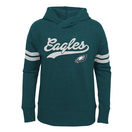 Girls Youth Midnight Green Philadelphia Eagles French Terry Pullover Hoodie