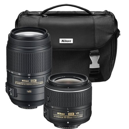 Nikon AF-S NIKKOR 55-300mm f/4.5-5.6G ED VR Zoom and AF-S DX NIKKOR 18-55mm F/3.5-5.6 G VR II Dual Lens Bundle with Deluxe Camera Bag (Certified Refurbished)